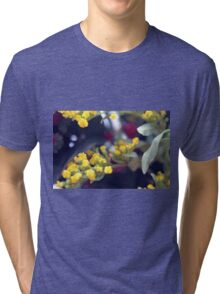 Natural background made in watercolor style with colorful flowers. Tri-blend T-Shirt