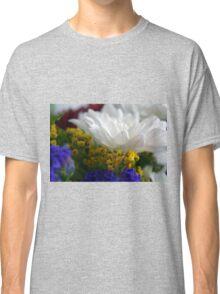 White flower macro, natural background. Classic T-Shirt