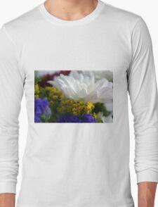 White flower macro, natural background. Long Sleeve T-Shirt