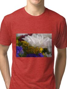 White flower macro, natural background. Tri-blend T-Shirt