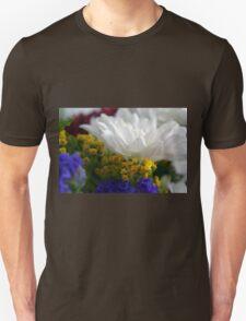 White flower macro, natural background. Unisex T-Shirt