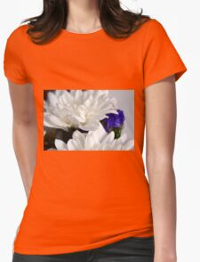White flowers macro, natural background. Womens Fitted T-Shirt