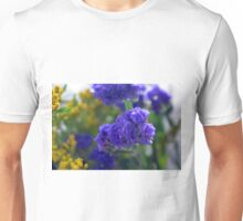Purple flowers, nature background. Unisex T-Shirt