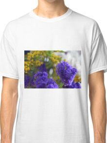 Purple flowers, nature background. Classic T-Shirt