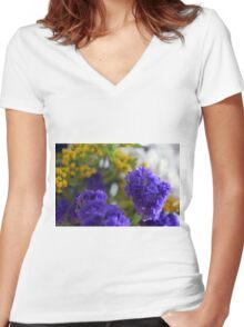 Purple flowers, nature background. Women's Fitted V-Neck T-Shirt