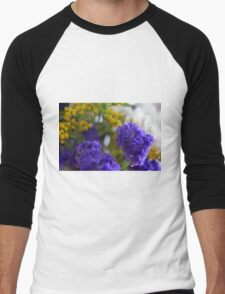 Purple flowers, nature background. Men's Baseball ¾ T-Shirt