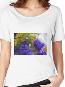 Purple flowers, nature background. Women's Relaxed Fit T-Shirt