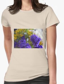Purple flowers, nature background. Womens Fitted T-Shirt