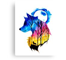 Colorful Wolf Watercolour  Canvas Print