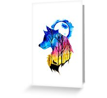 Colorful Wolf Watercolour  Greeting Card