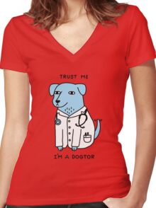 I'am A Dogtor Women's Fitted V-Neck T-Shirt