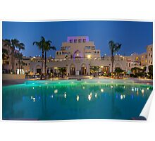 Jordan, Aqaba, Tala Bay Luxury Beach Resort. Night photography  Poster