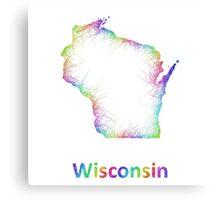 Rainbow Wisconsin map Canvas Print