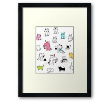 Cats. Dinosaurs. Unicorn. Sticker set. Framed Print