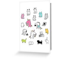 Cats. Dinosaurs. Unicorn. Sticker set. Greeting Card