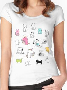 Cats. Dinosaurs. Unicorn. Sticker set. Women's Fitted Scoop T-Shirt