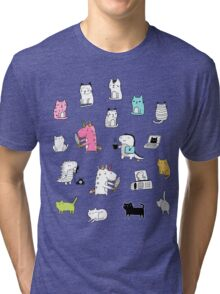 Cats. Dinosaurs. Unicorn. Sticker set. Tri-blend T-Shirt