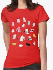 Cats. Dinosaurs. Unicorn. Sticker set. Womens Fitted T-Shirt