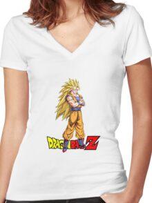 Dragon Ball Z - Super Saiyan 3 Goku Women's Fitted V-Neck T-Shirt