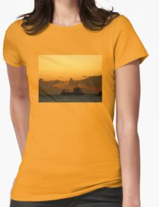 Boat leaving Harbour Womens Fitted T-Shirt