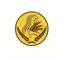 Demeter Harvest Wheat Grain Oval Retro Art Print