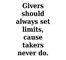 Givers and takers Photographic Print