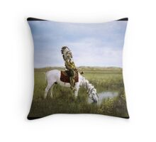"""""""An Oasis in the Badlands"""", Red Hawk, ca. 1905 Throw Pillow"""