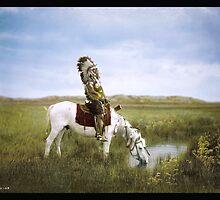 """An Oasis in the Badlands"", Red Hawk, ca. 1905 by Dana Keller"