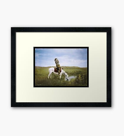 """""""An Oasis in the Badlands"""", Red Hawk, ca. 1905 Framed Print"""