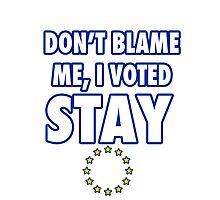 Don't blame me, I voted stay Photographic Print