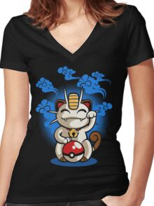 Lucky Meowth Women's Fitted V-Neck T-Shirt