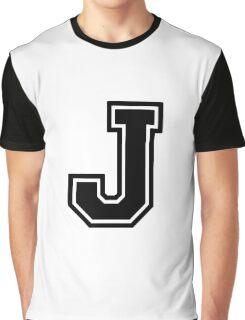 """Letter """"J""""  - Varsity / Collegiate Font - Black Print Graphic T-Shirt"""