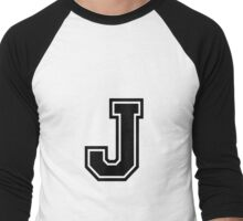 "Letter ""J""  - Varsity / Collegiate Font - Black Print Men's Baseball ¾ T-Shirt"