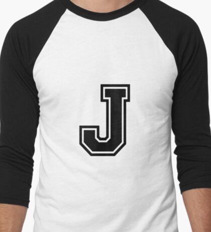 """Letter """"J""""  - Varsity / Collegiate Font - Black Print Men's Baseball ¾ T-Shirt"""