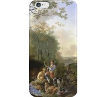 Adam Pynacker - Landscape With Sportsmen And Games 1665. Forest view: forest , trees,  Sportsmen, dog, birds, animals, Games, flowers, plants, field, present  iPhone Case/Skin