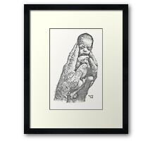 Newborn ink pointillism Framed Print