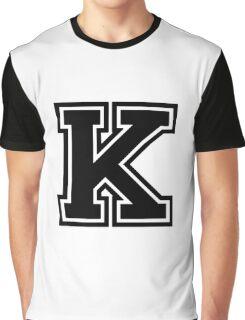 """Letter """"K""""  - Varsity / Collegiate Font - Black Print Graphic T-Shirt"""
