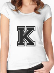 """Letter """"K""""  - Varsity / Collegiate Font - Black Print Women's Fitted Scoop T-Shirt"""