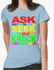 ASK SEEK KNOCK Womens Fitted T-Shirt