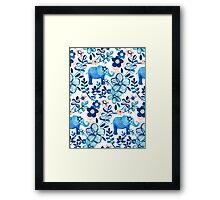 Blush Pink, White and Blue Elephant and Floral Watercolor Pattern Framed Print