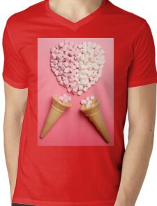 Marshmallows heart and ice-cream cones Mens V-Neck T-Shirt