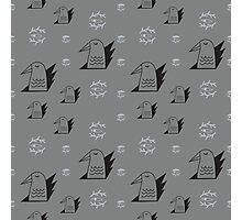 Graphic birds and eye symbols gray Photographic Print