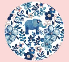 Blush Pink, White and Blue Elephant and Floral Watercolor Pattern One Piece - Short Sleeve