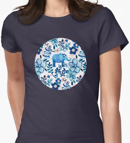 Blush Pink, White and Blue Elephant and Floral Watercolor Pattern Womens Fitted T-Shirt