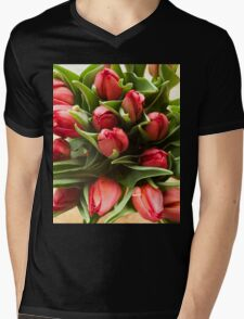 Red tulips. Top view Mens V-Neck T-Shirt