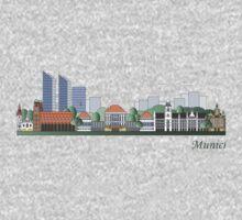 Munich skyline colored One Piece - Short Sleeve