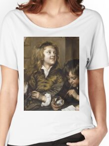 Adriaen Hanneman - Two Boys Blowing Bubbles. Boys portrait: Boys, children, curly hair, smile,  joy, happiness, delight, game, play, blowing Women's Relaxed Fit T-Shirt