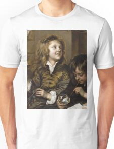 Adriaen Hanneman - Two Boys Blowing Bubbles. Boys portrait: Boys, children, curly hair, smile,  joy, happiness, delight, game, play, blowing Unisex T-Shirt