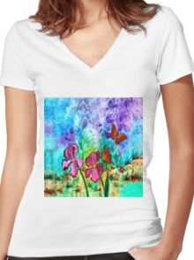 Pink Iris Women's Fitted V-Neck T-Shirt