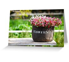 pot of flowers on a weathered wooden table  Greeting Card